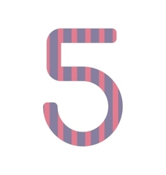 number five design with vertical colorful striped vector image