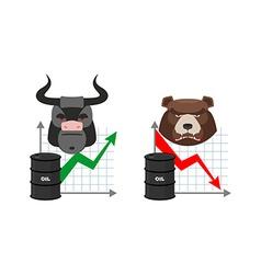 Oil quotations increase Barrel of oil declines vector