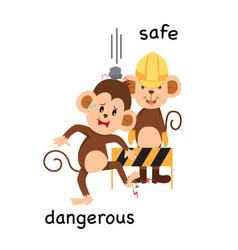 Opposite safe and dangerous vector