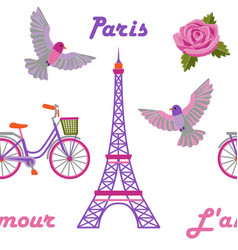 Paris embroidery seamless pattern vector
