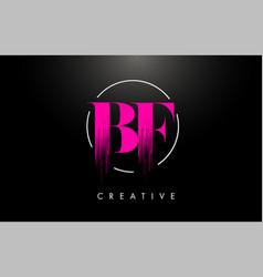 Pink bf brush stroke letter logo design pink vector