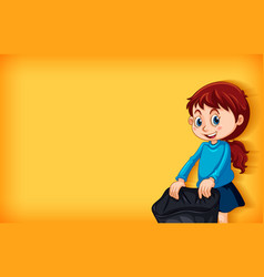Plain background with girl and trash bag vector