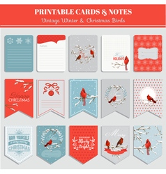 Printable Cards Tags and Labels - Christmas vector