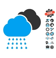 Rain Clouds Icon With Tools Bonus vector