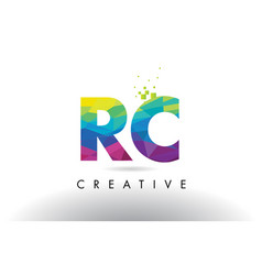 rc r c colorful letter origami triangles design vector image