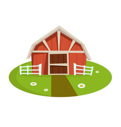 Red wooden barn with fence on green lawn with path vector