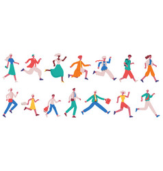 Running hurrying people jogging adult characters vector