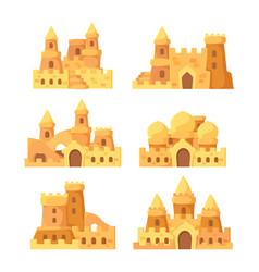 Sandcastles fairytale summer buildings on seaside vector