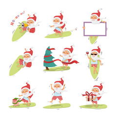 santa claus on surfboard with gifts in backpack vector image