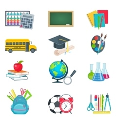 school education icons set vector image