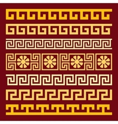 Set gold Greek ornament Meander vector