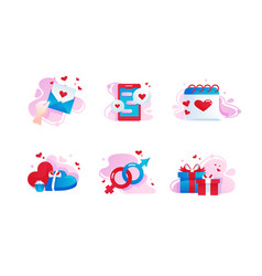 set icons with love gift box message date vector image