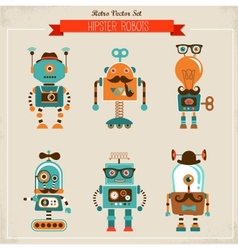 Set vintage hipster robot icons vector
