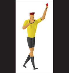 soccer referee showing red card vector image