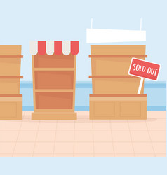 Sold out shelves hoarding excess purchase vector