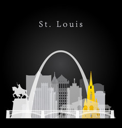st louis white and yellow skyline vector image