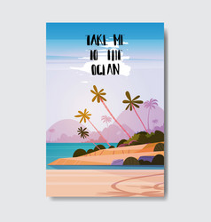 take me to beach landscape palm tree badge design vector image