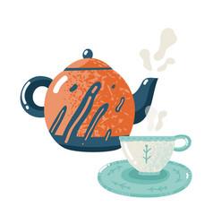 Tea time flat hospitality warming comfort vector