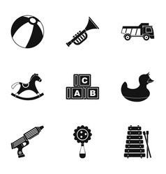 toys for kids icon set simple style vector image