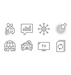 Tv analytical chat and communication icons set vector