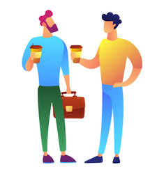 two businessmen on coffee break vector image