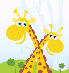 Two giraffes vector