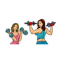 two women with dumbbells isolate on a white vector image
