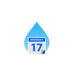 Water calendar logo icon design vector