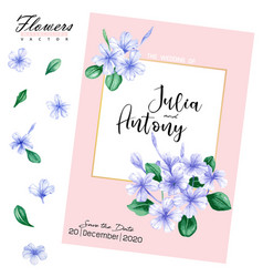 Watercolor violet flower for wedding card vector