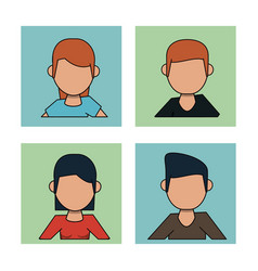White background with frames of men and women vector