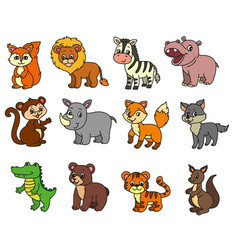 wild animals cartoon vector image