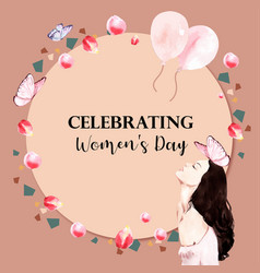 Women day wreath design with balloon butterfly vector