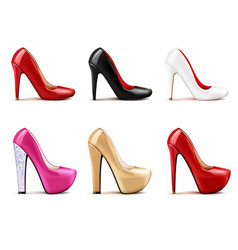 Women shoes realistic set vector