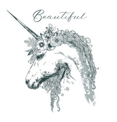 beautiful unicorn with floral wreath vector image vector image