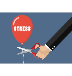 Big hand cutting stress balloon string with vector image vector image