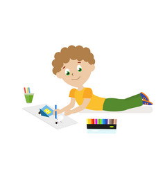 boy lying on the floor drawing a picture with vector image vector image