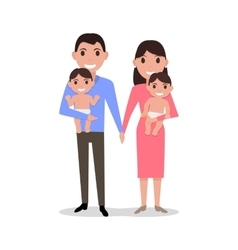 cute cartoon young parents with twins vector image