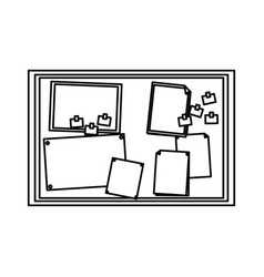paper notes on cork board office element vector image