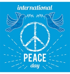 peace day poster with peace symbol and dove vector image vector image