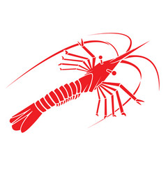 red shrimp silhouette logo vector image