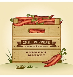 Retro crate of chili peppers vector image