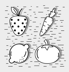 Set fresh organ fruit and vegetables vector