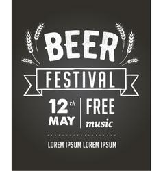 Beer festival black board event poster vector image vector image