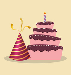 Birthday cake hat decoration party vector