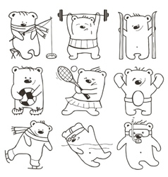 Cartoon Sport Bears Oulines Collection vector image vector image