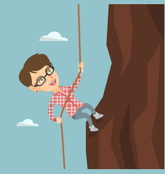 caucasian business woman climbing the mountain vector image