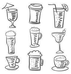 collection drink hand draw doodle style vector image vector image