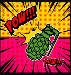 comic style background with grenade explosion vector image vector image