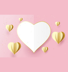 happy valentines day white and gold heart shape vector image vector image