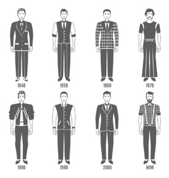 Men Fashion Black White Evolution Icons Set vector image
